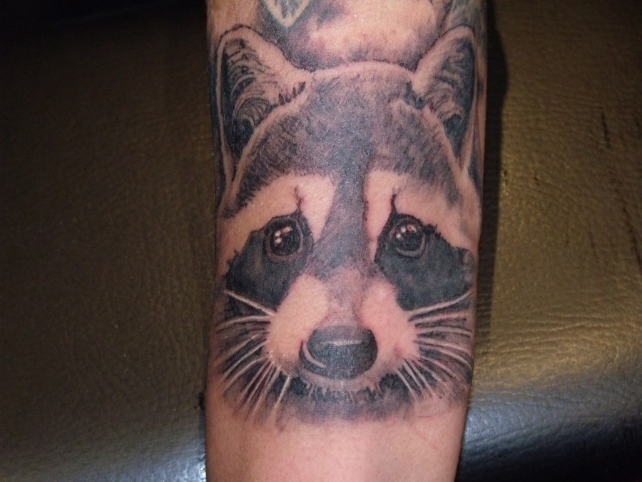 Cute raccoon arm tattoo