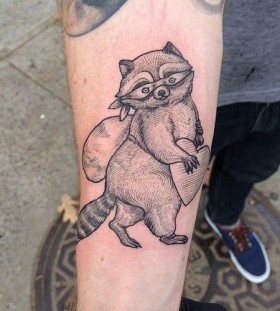 Cute raccoon tattoo by Rachel Hauer