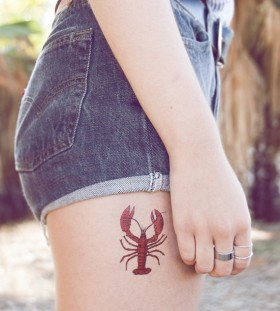 Cute small lobster tattoo