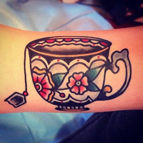 Cute teacup tattoo by Nick Oaks