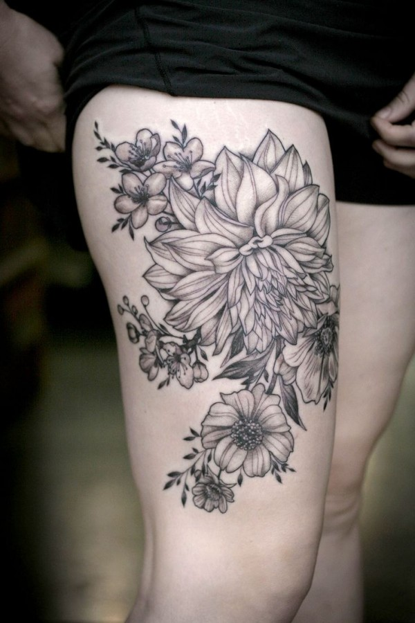 Dahlia and flowers tattoo by Alice Kendall
