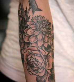 Dahlia and rose tattoo