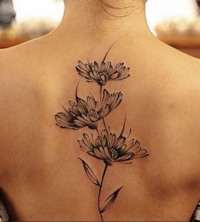 Daisies back tattoo by Chen Jie