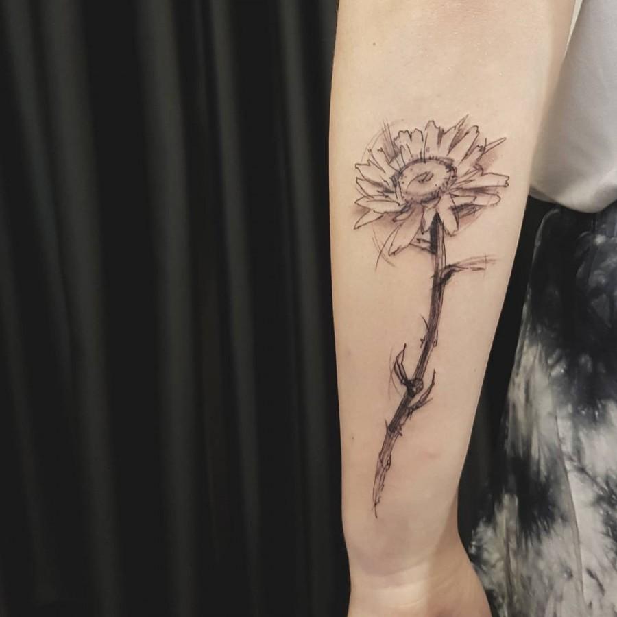 daisy sketch style tattoo by ael lim singapore