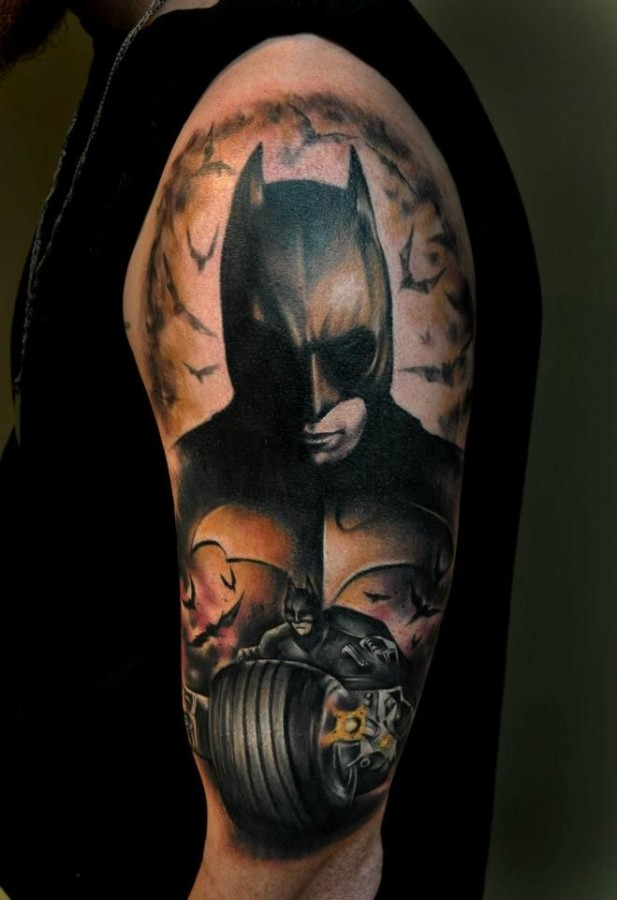 Dark knight tattoo by Benjamin Laukis
