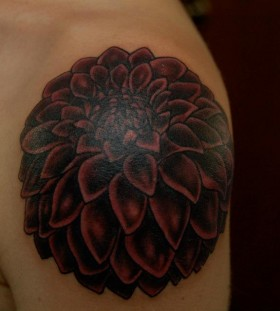 Dark red dahlia tattoo