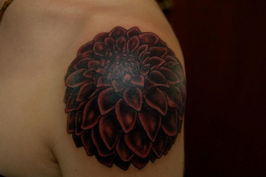 Dark red dahlia tattoo