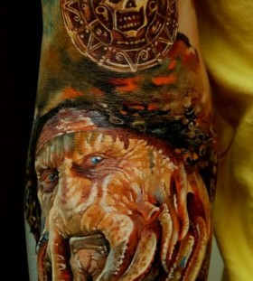 Davy Jones tattoo by Dmitriy Samohin