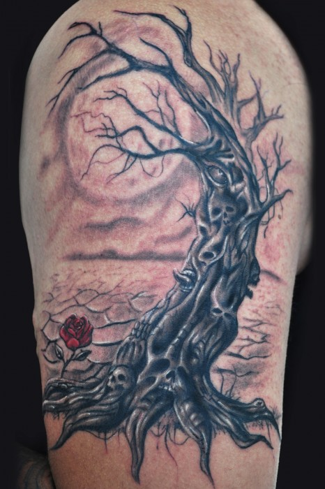 Dead tree and rose tattoo