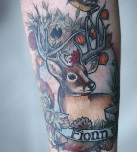 Deer and bird tattoo by Alice Kendall