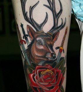 Deer and rose leg tattoo