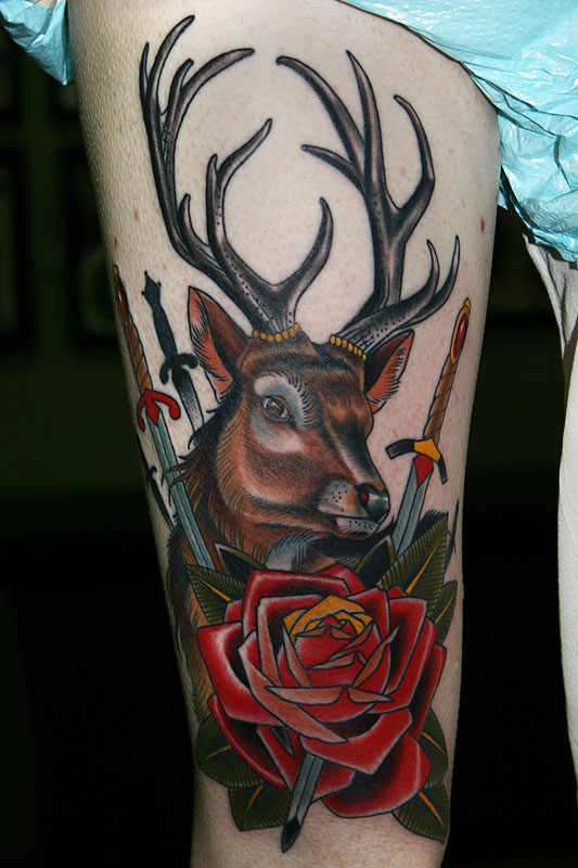 Deer and rose leg tattoo