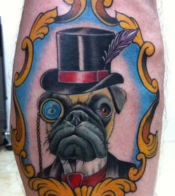 Dog in a suit tattoo by Jon Mesa
