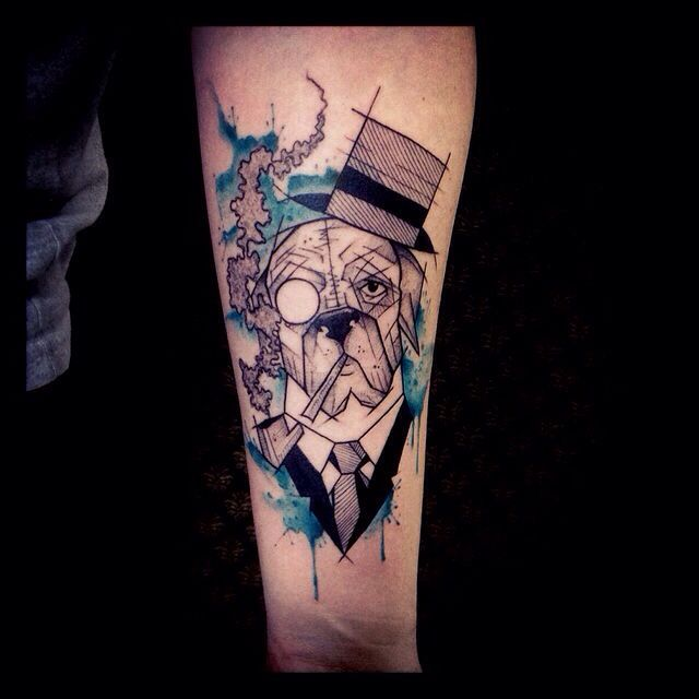 Dog in a suit tattoo by Tyago Compiani