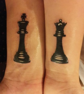 Double lovely chess tattoo