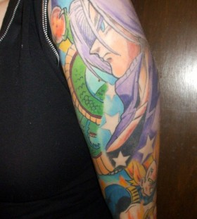 Dragon ball theme sleeve tattoo