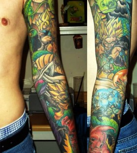 Dragonball theme full arm tattoo