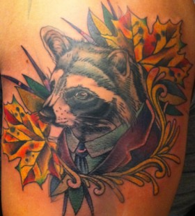 Dressed up raccoon tattoo