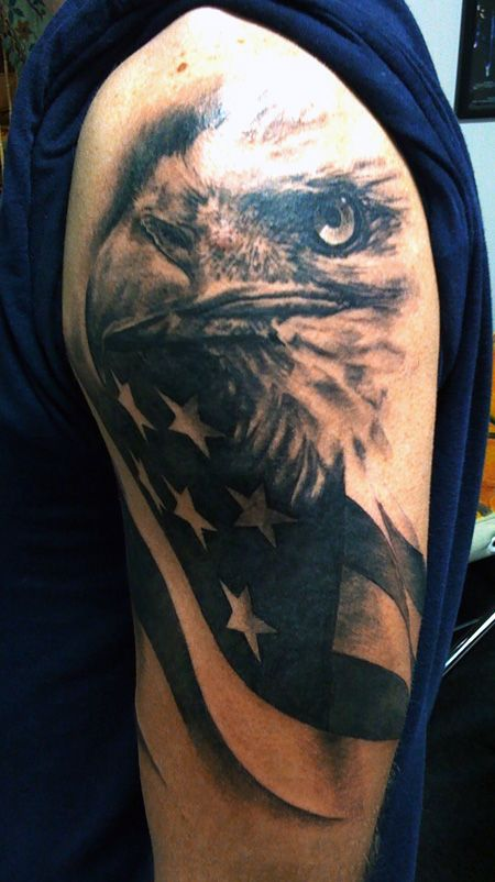 Eagle and american flag tattoo by David Allen
