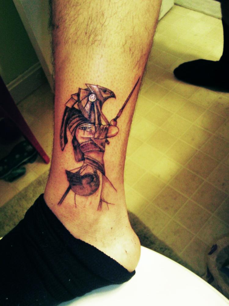Egyptian God Horus Ankle Tattoo -