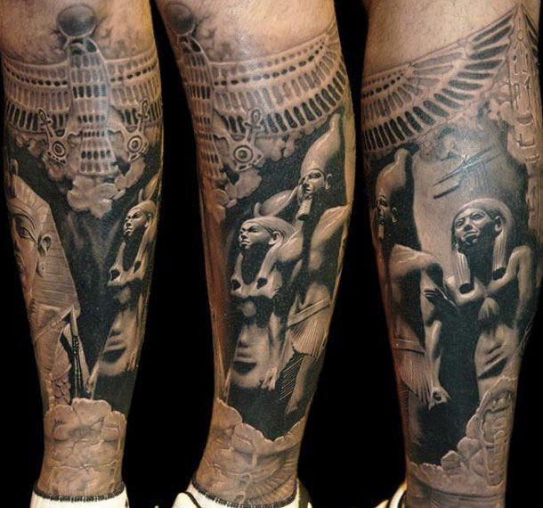 Egyptian statues tattoo by James Tattooart