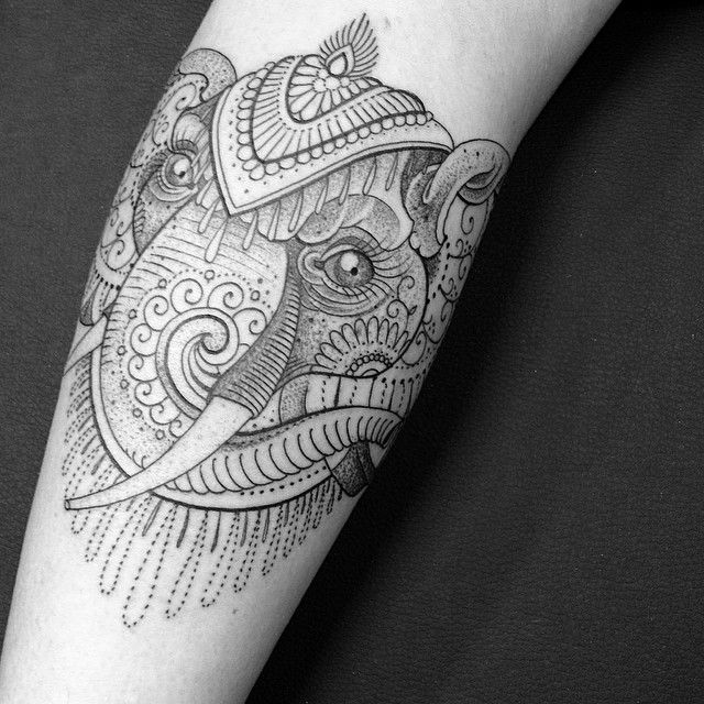 Elephant tattoo by Pepe Vicio