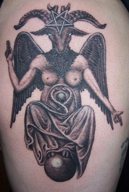 Evil goat with wings tattoo