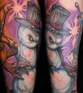 Evil scary snowman tattoo