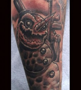 Evil snowman with a gun tattoo