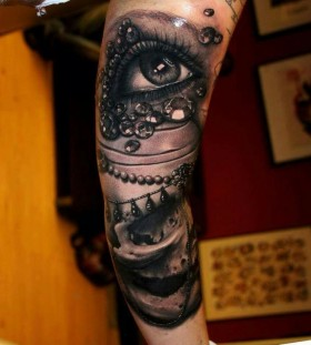 Eye and jewels tattoo by Riccardo Cassese