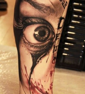 Eye tattoo on leg by Florian Karg