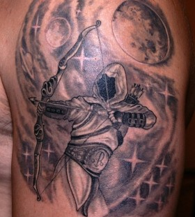 Faceless sagittarius arm tattoo