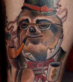 Fancy smoking sloth tattoo