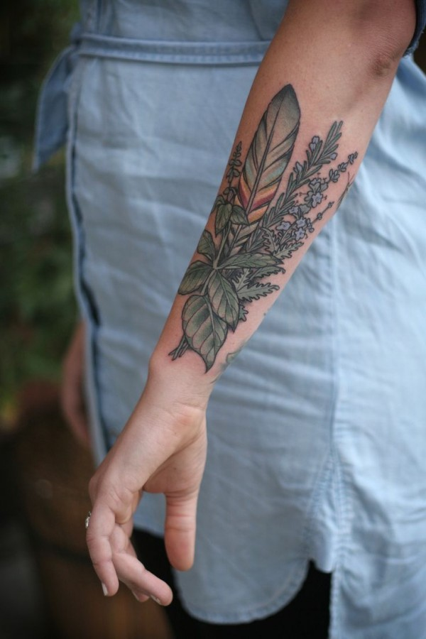 Feather and herb tattoo by Kirsten Holliday