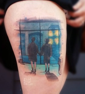 fight-club-watercolor-tattoo