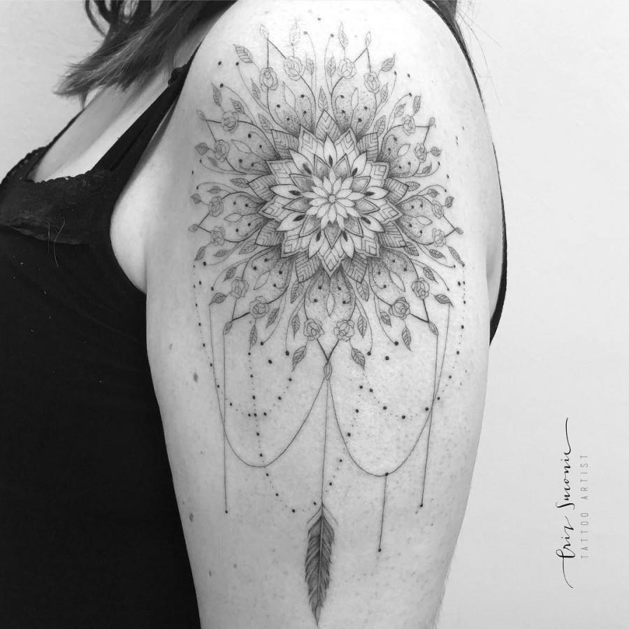 fine line mandala tattoo by crizsuconic