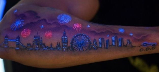Fireworks and builindgs town tattoo