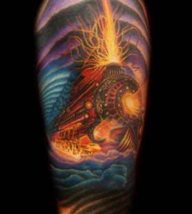 Flaming train arm tattoo