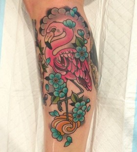 Flamingo and blue flowers tattoo by Clare Hampshire