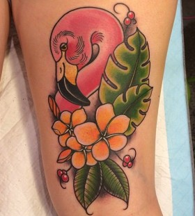 Flamingo and flowers tattoo by Clare Hampshire
