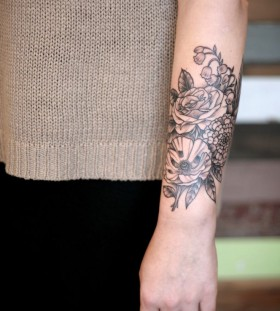 Floral tattoo by Kirsten Holliday