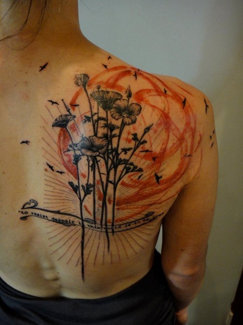 Flower back tattoo by xoil