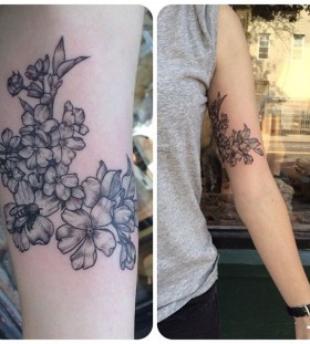 Flowers and bee tattoo by Rachel Hauer