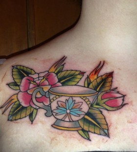 Flowers and teacup tattoo