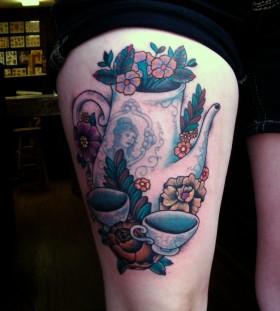 Flowers and teacups tattoo