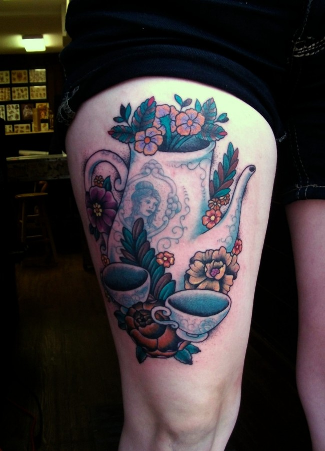Flowers and teacups tattoo