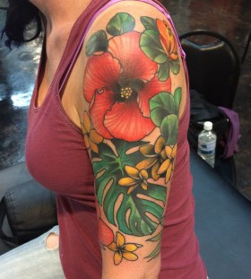 Flowers arm tattoo by Amanda Leadman