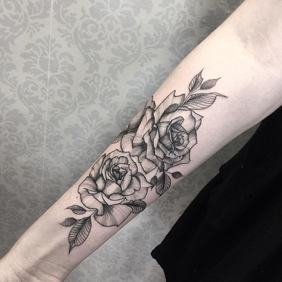 Blackwork Flower Tattoos