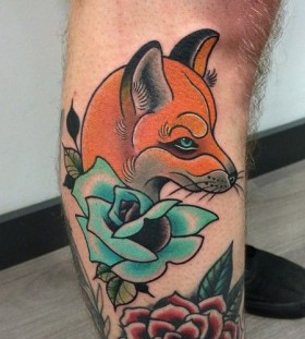 Fox and flower tattoo by Clare Hampshire