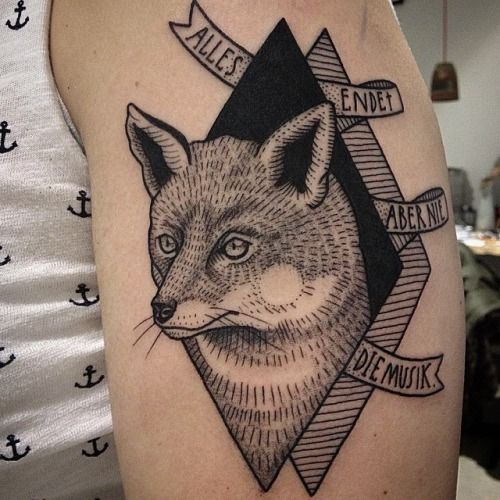 Fox and geometric shapes tattoo by Susanne König